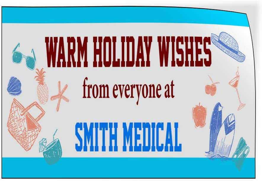 Custom Door Decals Vinyl Stickers Multiple Sizes Warm Holiday Wishes from Everyone Name Business Warm Holiday Wishes Outdoor Luggage /& Bumper Stickers for Cars Blue 30X20Inches Set of 5