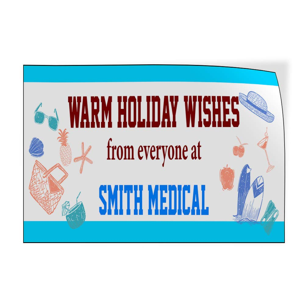 Custom Door Decals Vinyl Stickers Multiple Sizes Warm Holiday Wishes from Everyone Name Business Warm Holiday Wishes Outdoor Luggage /& Bumper Stickers for Cars Blue 14X10Inches Set of 10