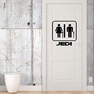 Star Wars Man, Woman, His and Hers Wall Decor | Jedi Lightsaber Themed Decal Home Decor, Bathroom Decoration | Small, Large Sizes | Black, White, Gray, Blue, Pink, Gold, Other Colors
