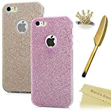 Iphone SE / 5S / 5 Case - Mavis's Diary 2 Pcs Bling Shiny Sparkle Soft TPU Case Durable Design Clear Cover for Iphone SE 5S 5 with Golden Crown Dust Plug & Feather Stylus Pen (Pink & Golden)