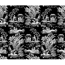 White on Black Fabric - Chinoiserie Toile ~ Black and White on Black by peacoquettedesigns - White on Black Fabric with Spoonflower - Printed on Cotton Poplin Fabric by the Yard