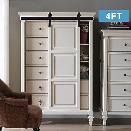 Artist Hand 4FT Mini Cabinet Barn Door Hardware Kit, Sliding Door Hardware  Track Set,