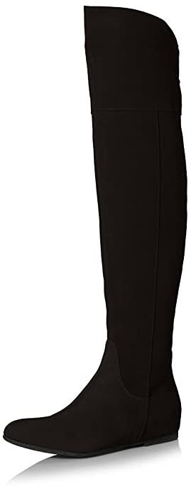 Amazon.com | Butter Women's Dished Over The Knee Flat Boot, Black ...