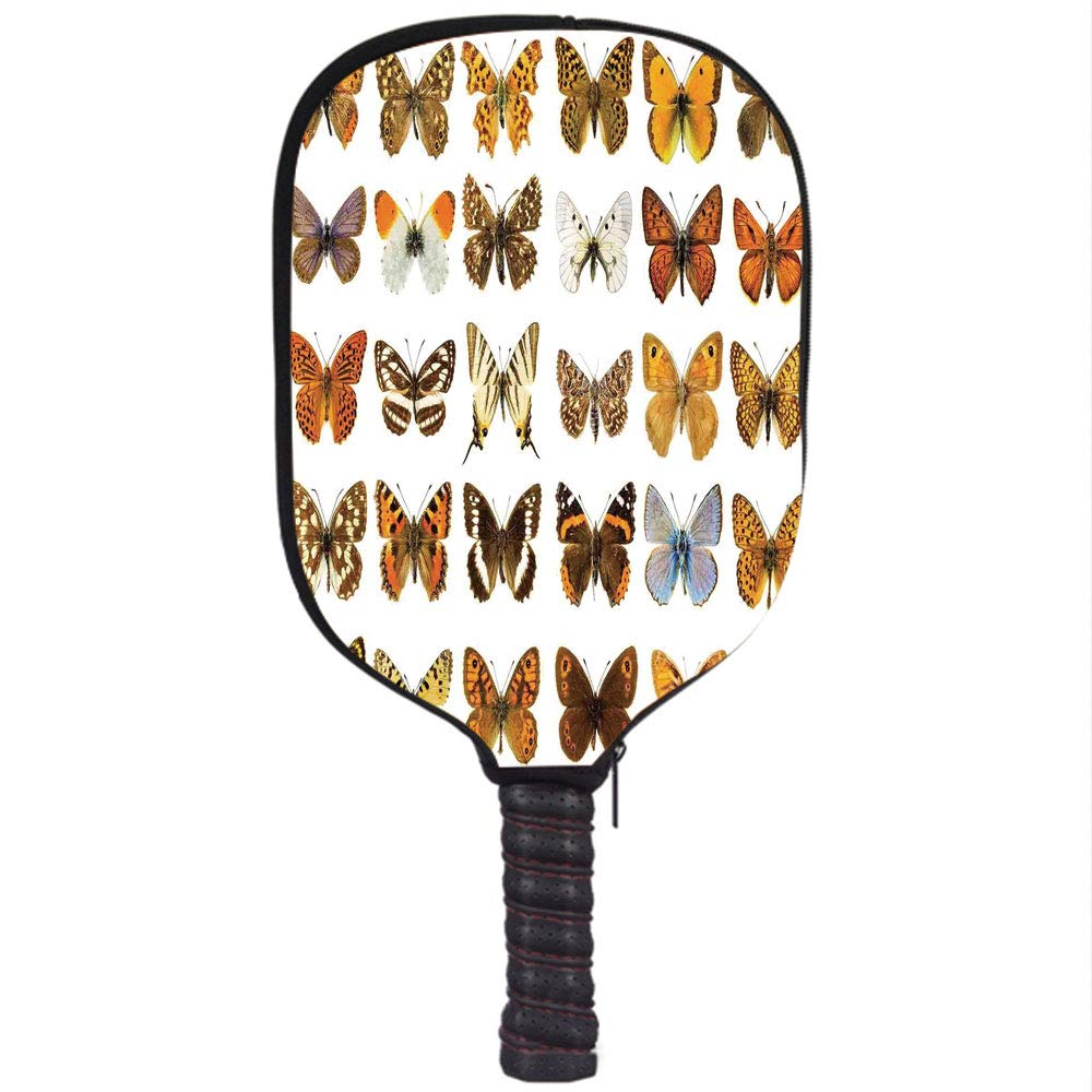 Amazon.com : Neoprene Pickleball Paddle Racket Cover Case, Butterflies Decorations, Butterfly Miracle Wings Joy Freedom Spiritual Feminine Divine Sign ...