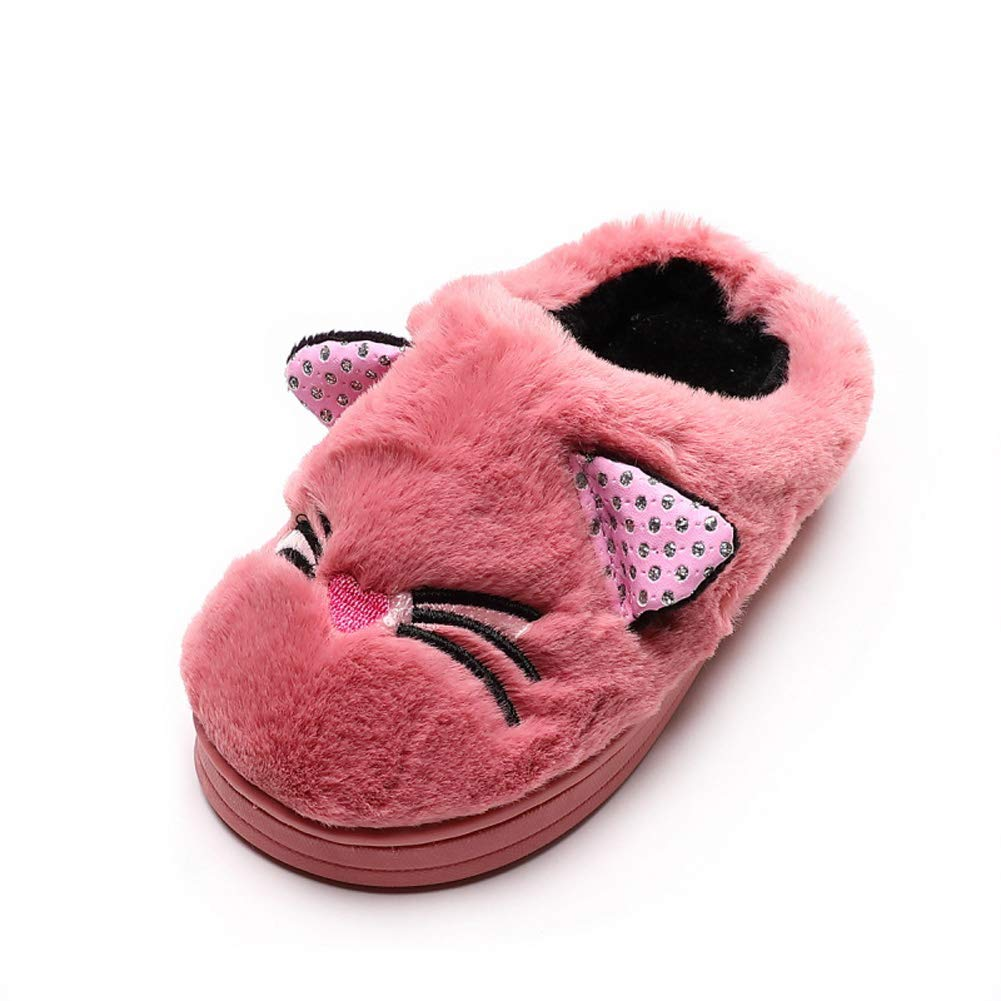Tongzone Little Kids Cat Slippers Girls Boys Nonslip Cartoon Animal Winter Warm House Slippers