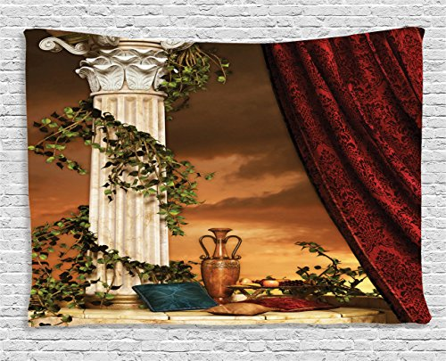 Ambesonne Gothic Tapestry, Greek Style Scene Climber Pillow Fruits Vine and Red Curtain Ancient Figure Sunset, Wall Hanging for Bedroom Living Room Dorm, 60 W X 40 L inches, Multicolor -