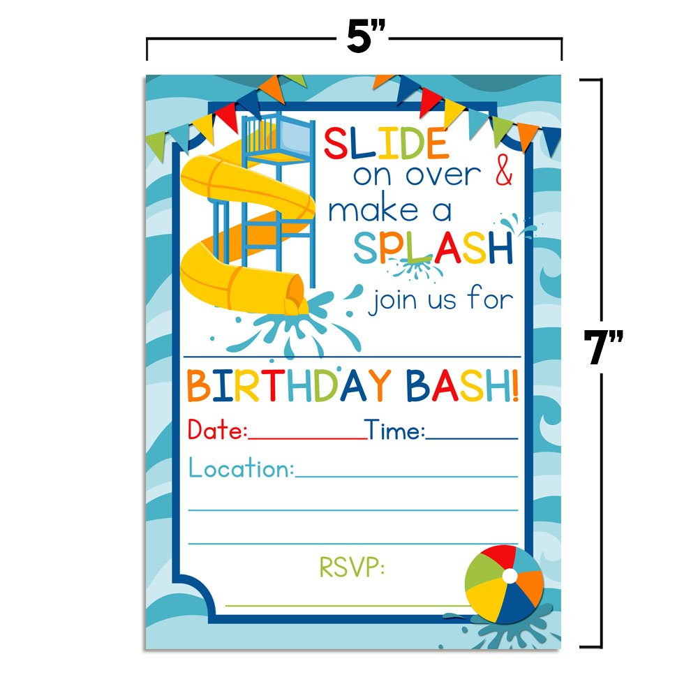 Waterslide Summer Fun Birthday Party Invitations for Boys 20 5x7 Fill in Cards with Twenty White Envelopes by AmandaCreation