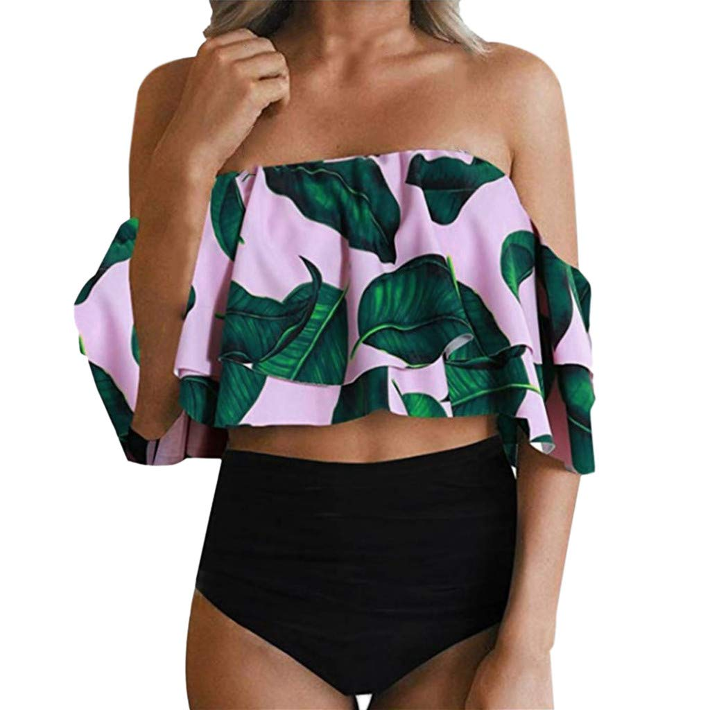 Zimuuy Twist Push Up Bikini Set Damen Hohe Taille Gedruckt One Shoulder Flounce Crop Top Badeanzug