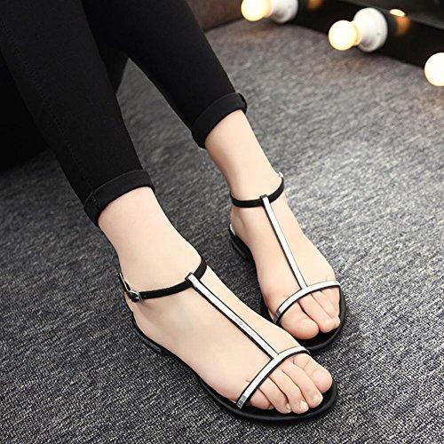 Xia Jiping parte inferior de la sandalia de las mujeres con los dedos descubiertos populares sandalias casuales con el diamante C