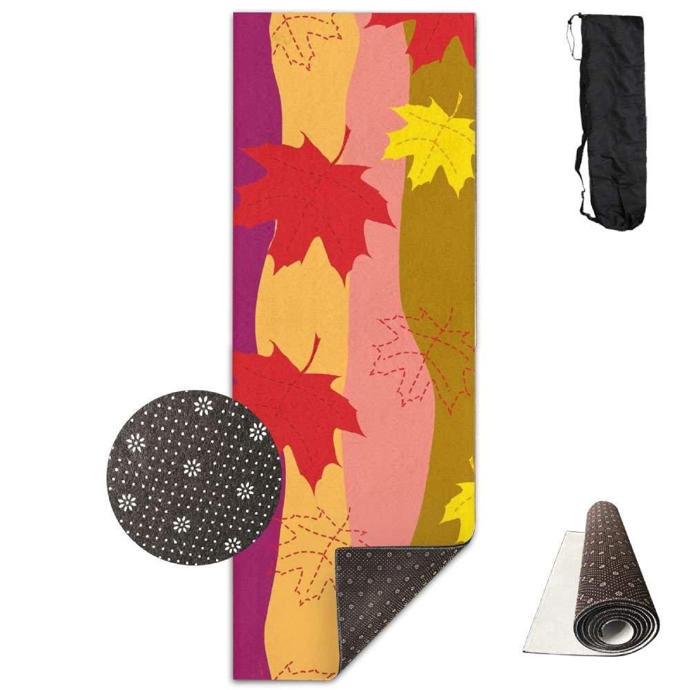 Colorful Maple Leaves Deluxe,Yoga Mat Aerobic Exercise Pilates Anti-slip Gymnastics Mats