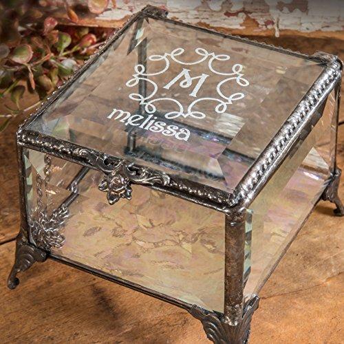 J Devlin Box 326 EB214-2 Personalized Clear Beveled Glass Box Engraved Keepsake Gift Monogram and Name