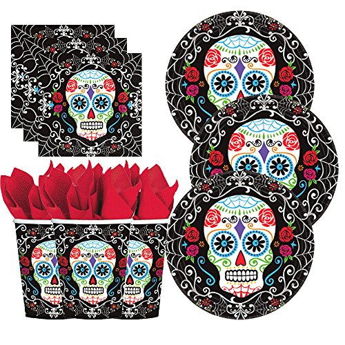 Day Of The Dead Party Pack for 18 with Plates, Cups Napkins - El Dia de Los Muertos Party Bundle