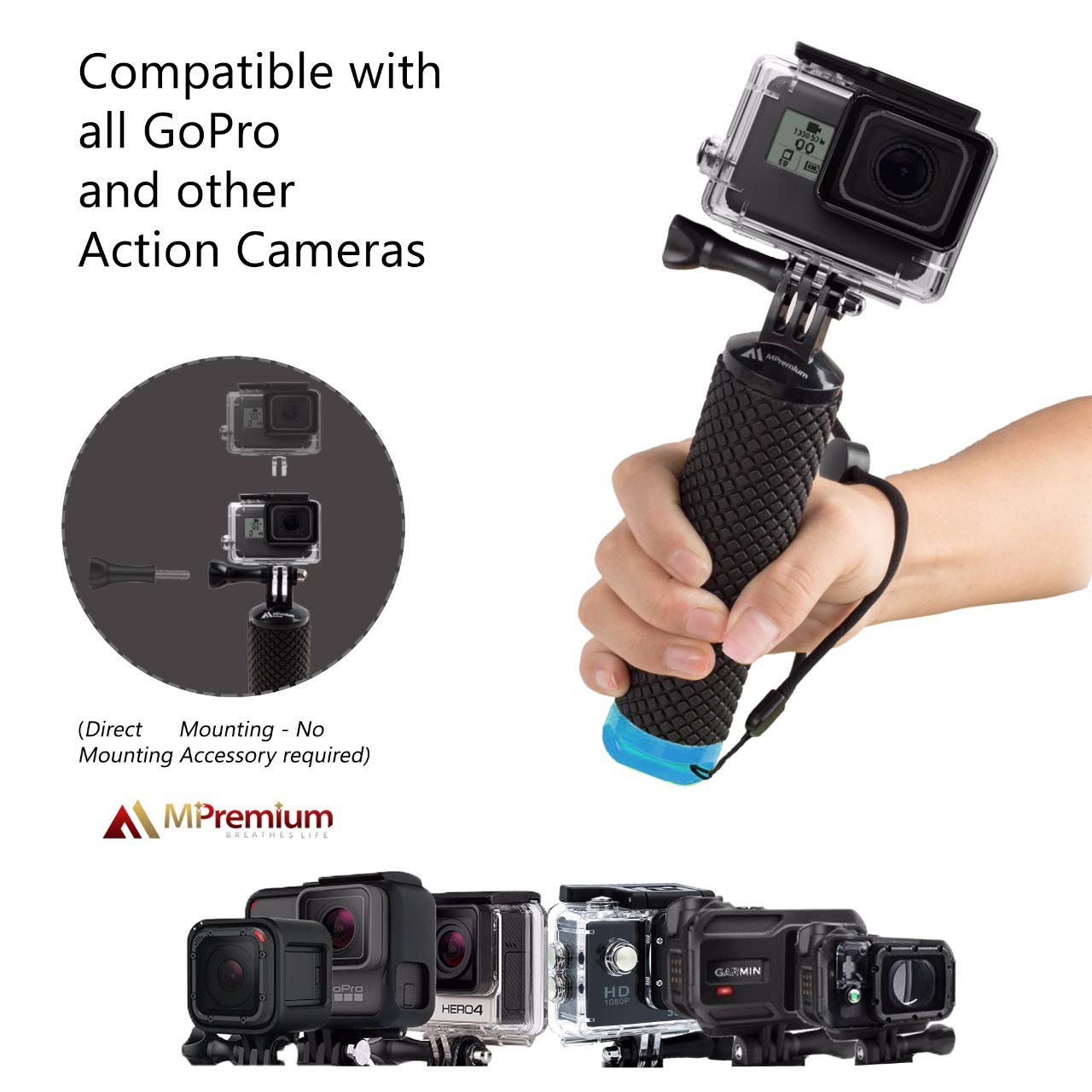 Waterproof Floating Hand Grip Compatible with GoPro Camera Hero 5 Session Black Silver Hero 6 5 4 3 2 1 Handler /& Handle Mount Accessories Kit for Water Sport and Action Cameras Rose Red