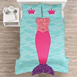 3 Piece Ruffled Mermaid Costume Design Quilt Set Full Size, Printed Bright Geometric Waves Scales Tail Bedding, Coastal Whimsical Girls Bedroom, Stylish Underwater Queen Fish Design, Pink, Turquoise