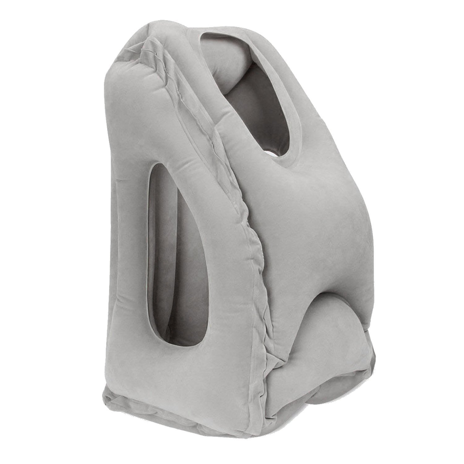 Inflatable Neck Pillow, WOWGO Travel Pillow Airplane Pillow With Arms Comfortable for Outdoor Travelling Camping, Air Planes, Trains, Cars, Buses and Indoor Office Napping [Updated Version] (Gray)
