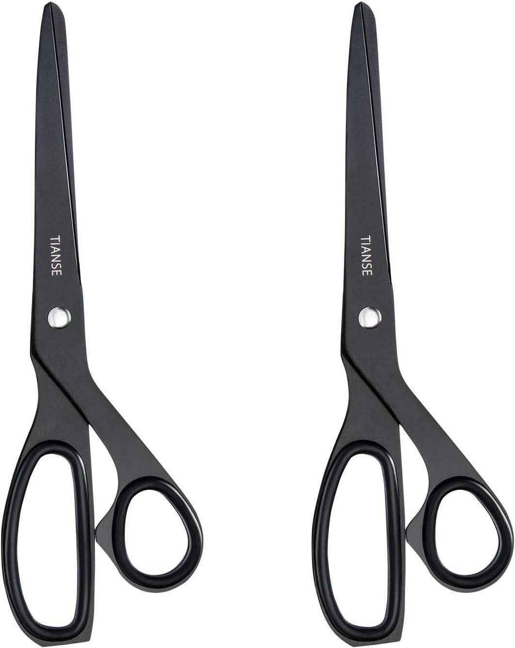 TIANSE 8-inch Titanium Scissor Soft-Grip Straight Bonded Scissors for School Office Home Use ,2-Pack Matt Black