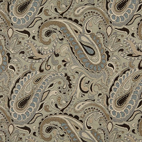 A0110A Brown Beige Light Blue and Tan Paisley Woven Solution Dyed Indoor Outdoor Upholstery Fabric by The Yard ()
