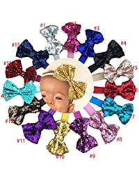 15Pcs Baby Girls Headbands 4'' Big Boutique Bling Sparkly...