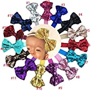15Pcs Baby Girls Headbands 4'' Big Boutique Bling Sparkly Sequin Hair Bows Headband Elastic Hair Bands Hair Accessories for Toddlers Infants