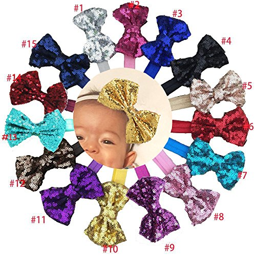 15Pcs Baby Girls Headbands 4'' Big Boutique Bling Sparkly Glitter Sequin Hair Bows Headband Elastic Hair Bands Hair Accessories for Toddlers Infants Newborns ()