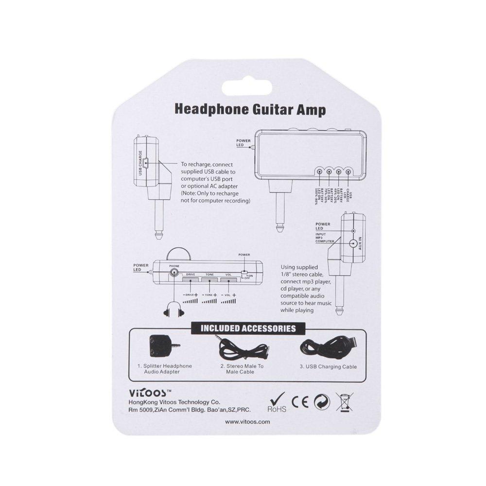 ammoon Mini Amplificatore Headphone Amp Heavy Rock Chitarra Elettrica Plug