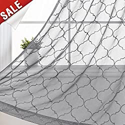 "jinchan Sheer Geometric Quatrefoil Curtains for Living Room/Bedroom Floral Embroidered Moroccan Tile Window Voile Curtain Set, (Set of Two, 55"" x 63"", Grey)"
