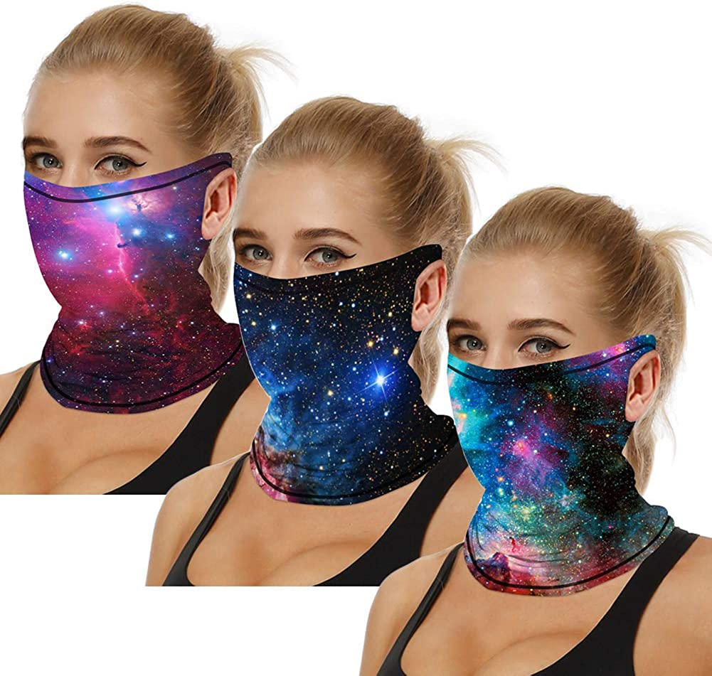 3PCS Unisex Bandana Face Mask Scarf with Ear Loops, Cooling Neck Gaiter Mouth Cover for Dust Sun Protection Rave Balaclava