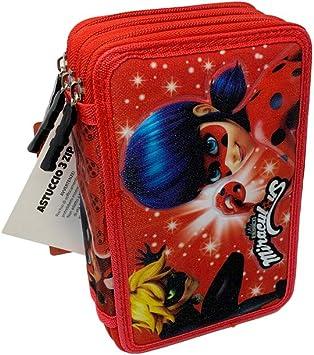 Estuche Miraculous 3 Cremalleras Ladybug Escolar Completo Giotto portalápices Fair: Amazon.es: Juguetes y juegos