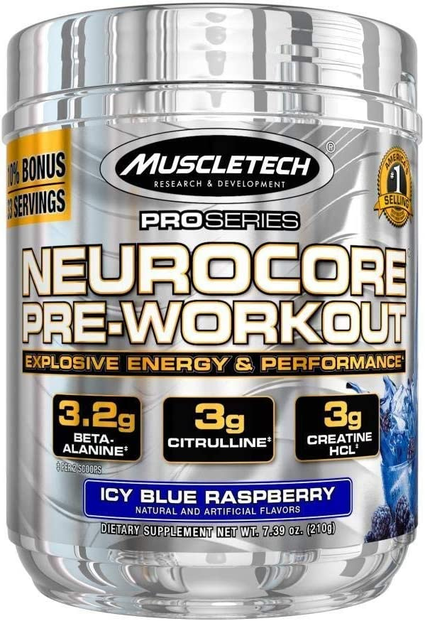 MuscleTech Neurocore Pre Workout Powder with Creatine, Beta-Alanine, & Citrulline, Icy Blue Raspberry, 33 Servings (210g): Health & Personal Care