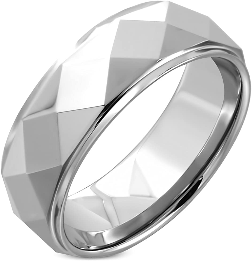Tungsten Carbide Faceted Dome Pyramid Step-Edge Comfort Fit Half-Round Band Ring