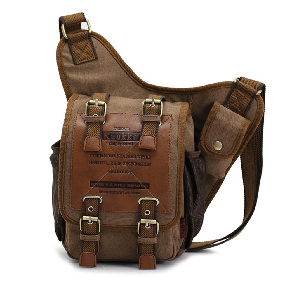 Men's Steampunk Goggles, Guns, Gadgets & Watches APG Crossbody Bag Canvas Leather Shoulder Bag Military Messenger Bag for School Travel and Hiking Satchel $25.99 AT vintagedancer.com