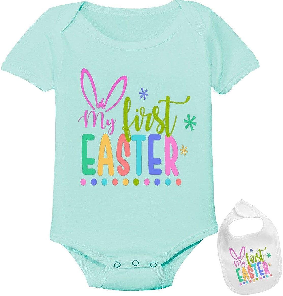 Boy Easter Bodysuit  Bunny baby bodysuit  blue bunny bodysuit  Baby first Easter  Baby shower gift  Organic baby clothes  Boy baby tie
