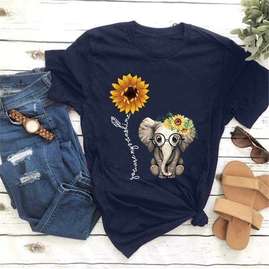 No-branded Funny Graphic Womens Cute Elephant Sunflower Print T Shirts Short Sleeve Crewneck Shirts Tops Blouse Summer Tee Shirts
