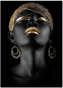 African American Canvas Prints Black Woman Portrait Photography with Gold Accents Wall Art Posters Decoration for Home Office Decor(16x24 Inches, Unframed)