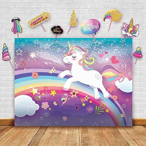 Magical Unicorn Theme Photography Backdrop and Studio Props DIY Kit. Great as Photo Booth Background, Rainbow Birthday Party Supplies and Princess Baby Shower Decorations by Glittery Garden