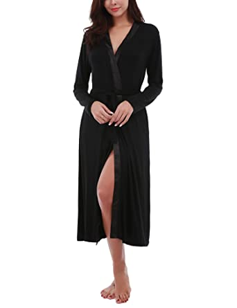 18f7d65e19 Dromild Women Bathrobe Lightweight Kimono Soft Long Cotton Robe Sleepwear  Black