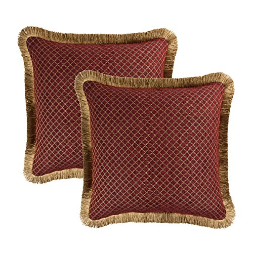 Sherry Kline Pattern - Sherry Kline Tangiers Red Chenille 18-inch Decorative Pillow (Set of 2)