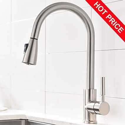 Attirant Modern Brushed Nickel High Arc Stainless Steel Pull Down Sprayer Single  Handle Kitchen Sink Faucet,
