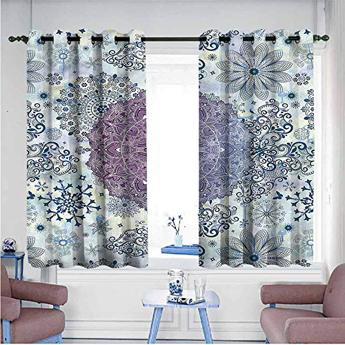Printed Insulation Curtain Mandala Eastern Ethnic Motifs Ombre Decor Curtains by W55 xL45 Suitable for Bedroom,Living,Room,Study, - Yarn Ombre Sport Satin
