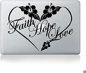 CLIFFBENNETT Faith Hope Love Hibiscus Flower Heart Vinyl Decal - fits Cars, laptops, Windows and More F028