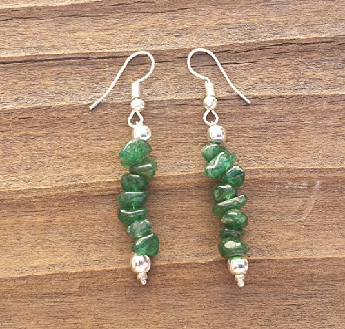 [A&S Crystals] Natural UNAKITE Handmade Gemstone Chip EARRINGSNatural GREEN JADE Handmade Gemstone Chip (Unakite Green)