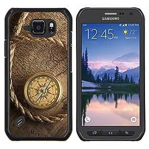 EJOOY---Cubierta de la caja de protección para la piel dura ** Samsung Galaxy S6Active Active G890A ** --El capitán del barco de navegación del compás de la vendimia