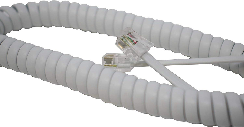 I-CHOOSE LIMITED Aufgerolltes Spiralkabel Des RJ10-Telefon-Handsets//Gelocktes Kabel-Gewundenes Draht-Kabel//Wei/ß