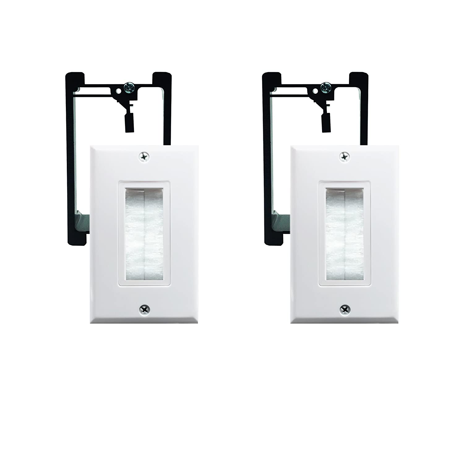 Brush Wall Plate with Single Gang Low Voltage Mounting Bracket,Yomyrayhu,Works Great with Audio/Vedio,HDMI,Home Theater(2 Pack)