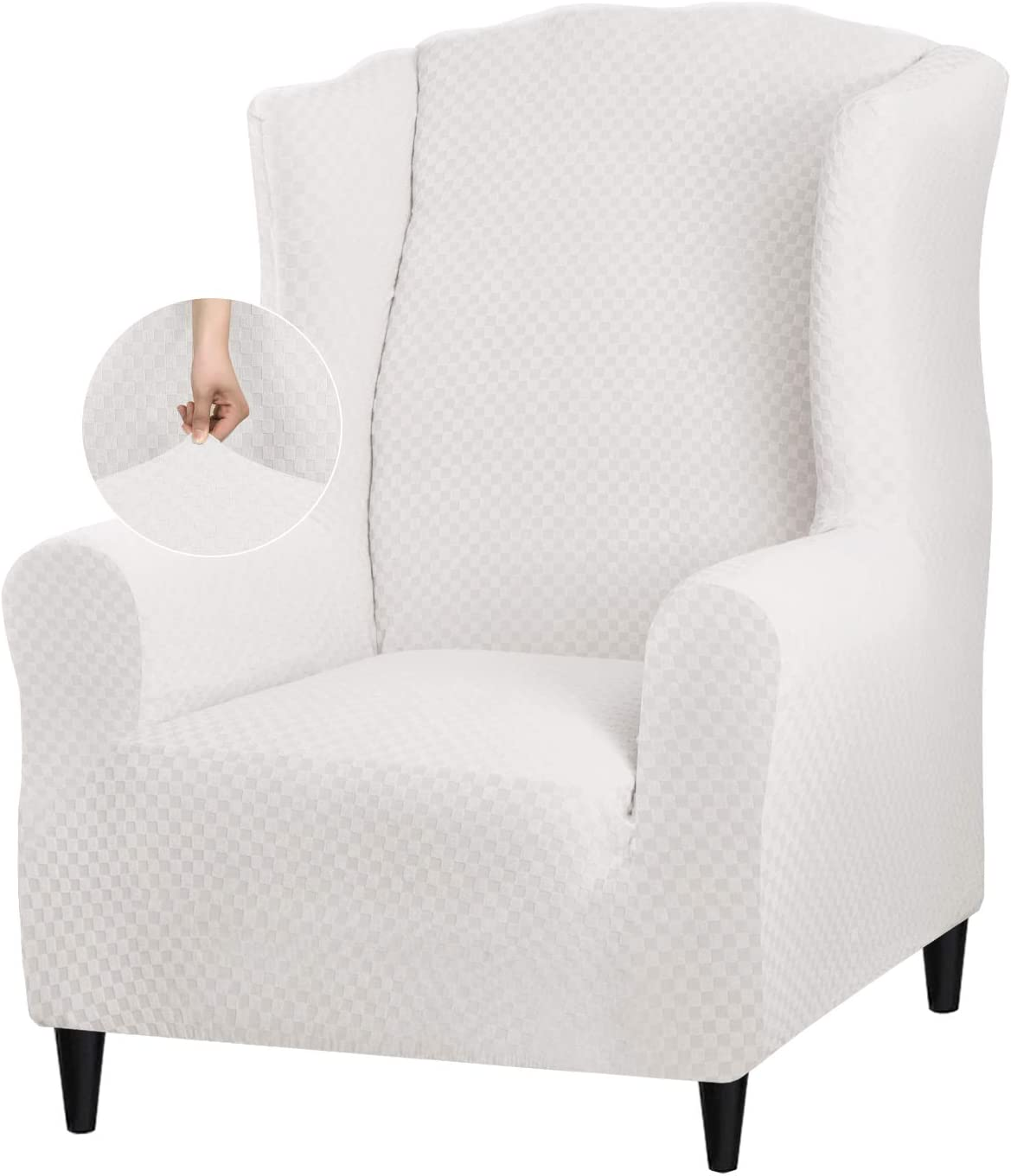 YEMYHOM 1 Piece Stretch Wingback Chair Slipcover Latest Jacquard Design Wing Chair Cover Non Slip Furniture Protector with Foam Rods for Living Room (Wing Chair, White)