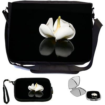 Rikki Knight Beautiful White Plumeria Flower on Black Design COMBO Multifunction Messenger Laptop Bag - with padded insert for School or Work - includes Wristlet & Mirror