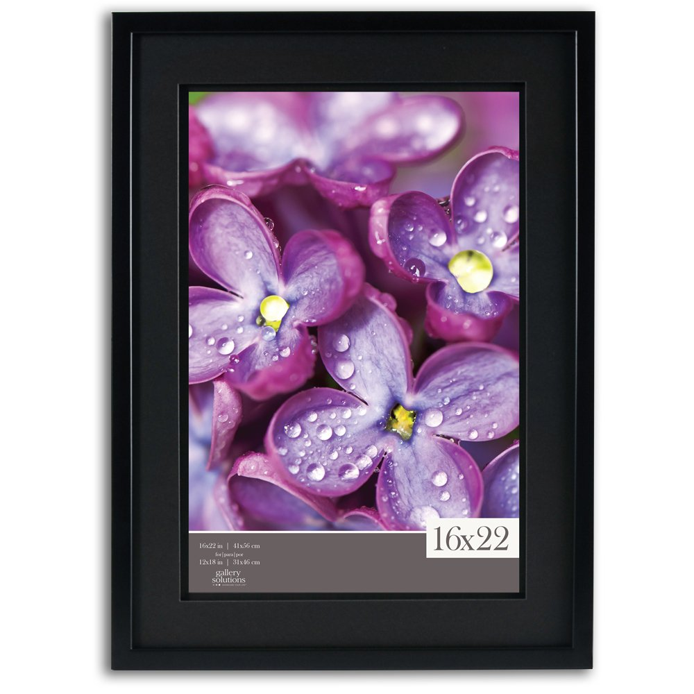 Gallery Solutions 16x22 Black Wood Wall Frame with Double Black Mat for 12x18 Image