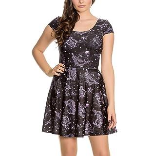 XXL UK 18 New Plus Size Purple Black Skeleton Halloween 50/'s Dress Hellbunny