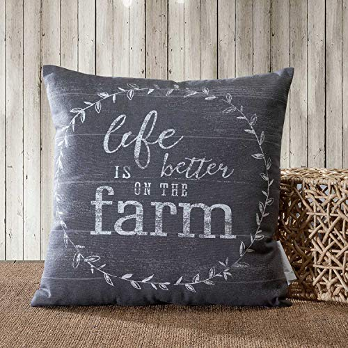 Throw Farm - TINA'S HOME Rustic Vintage Farmhouse Cotton Decorative Throw Pillow Cover - Life is Better ON The Farm (18x18, Grey)