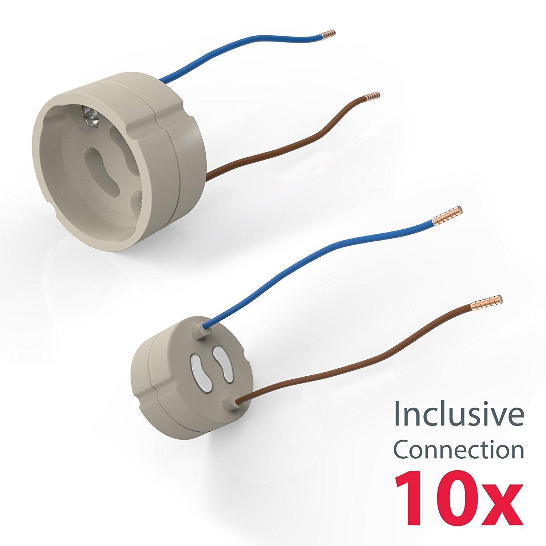 Marco de montaje para foco empotrable GU10 I Redondo I Accesorio I Kit de 10 unidades I Metal I Color n/íquel mate I IP23 I /Ø 86 mm
